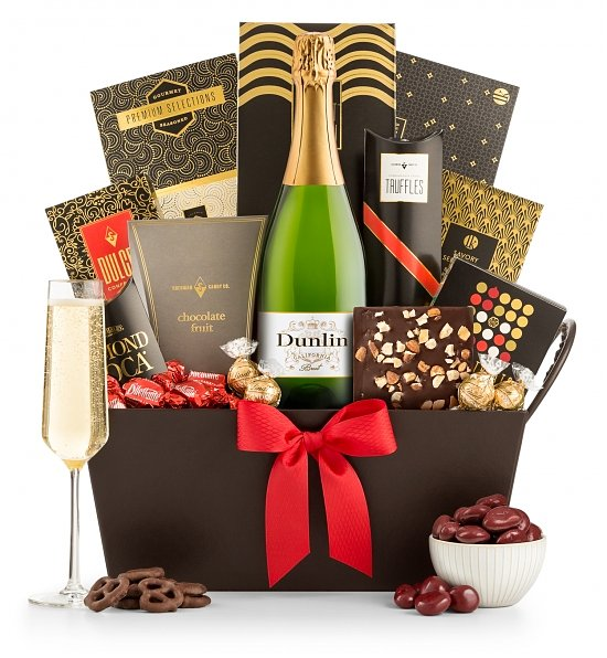 Champagne Gift Baskets: Sparkling Celebration Champagne & Chocolates