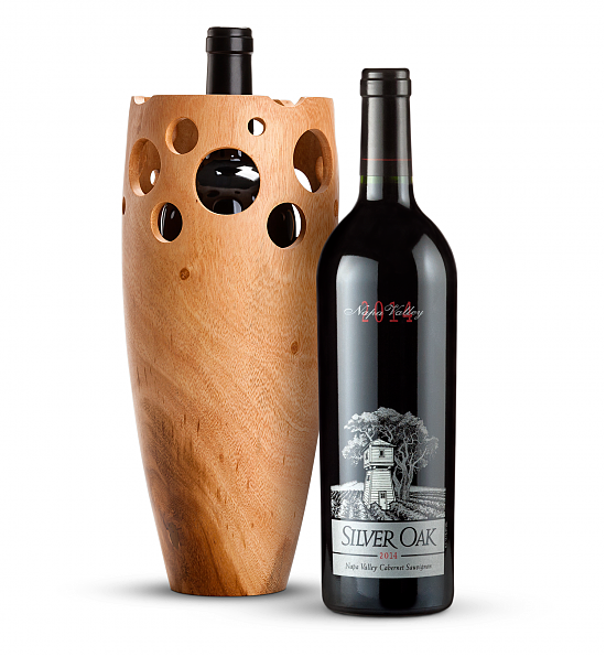 Wine Accessories & Decanters: Silver Oak Napa Valley Cabernet Sauvignon 2014 with Handmade Wooden Vase