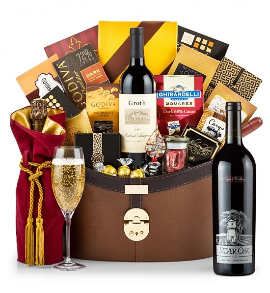 Silver Oak Napa Valley Luxury Cabernet Basket: Luxury Wine Baskets - Give the gift of wine tasting pleasure with this extraordinary gift basket, ...