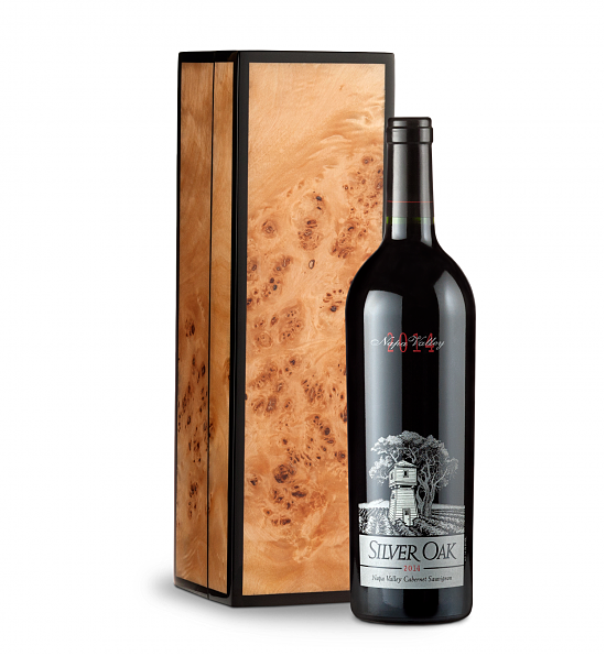 Wine Gift Boxes: Silver Oak Napa Valley Cabernet Sauvignon 2014 with Handcrafted Burlwood Box