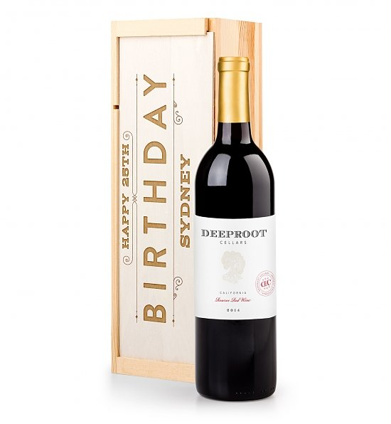 Personalized Keepsake Gifts: Birthday Crate with Your Chosen Wine
